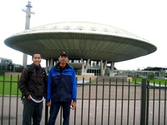 In front of the Evoluon, the UFO-like conference building