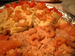 Salad. Some shrimps, mashed potatoes, salmons