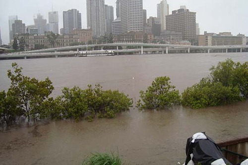 Brisbane under water. The high rise buildings are where the CBD is located