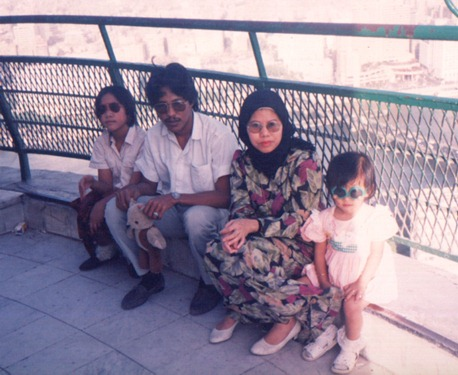 At the Cairo Tower. Little me sitting on the right hand-side