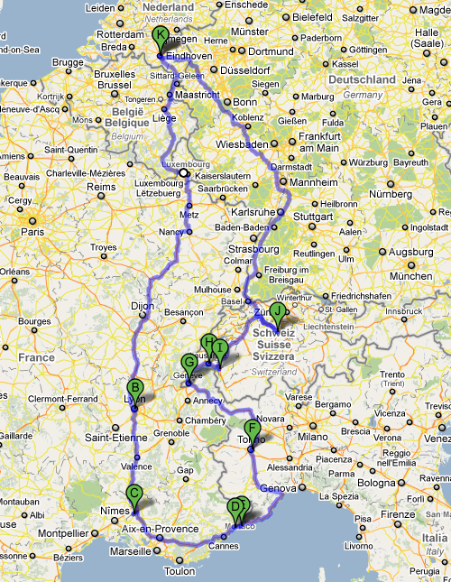 Possible places to visit for the road trip