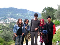 With our French host in his beautiful house on the hill of Nice, France