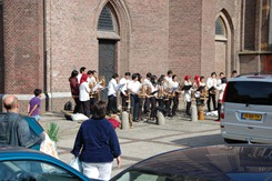 Rehearsal at the St Petrus Church's parking lot